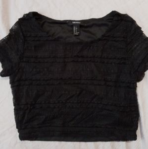 Black crop top with lace design